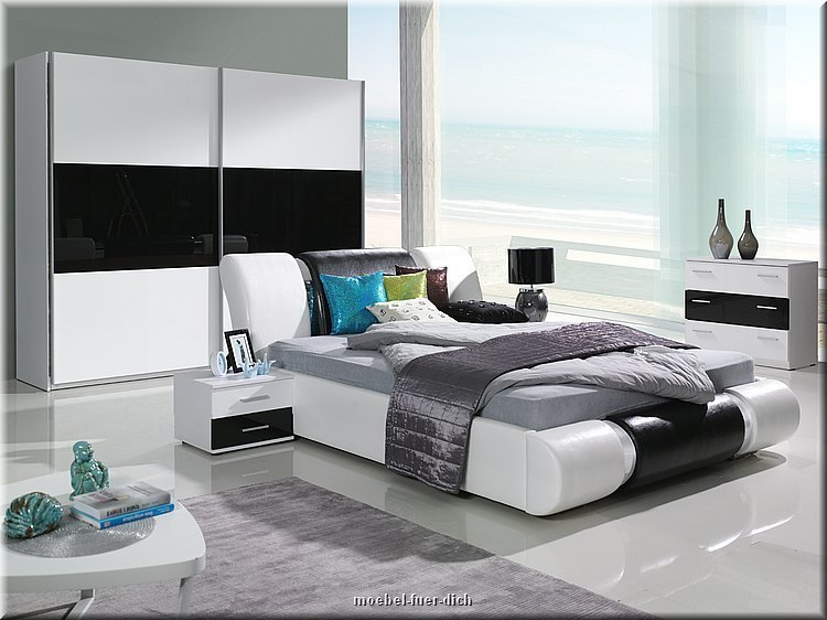 komplettes schlafzimmer kansas hochglanz wei schwarz bett mit bettkasten ebay. Black Bedroom Furniture Sets. Home Design Ideas