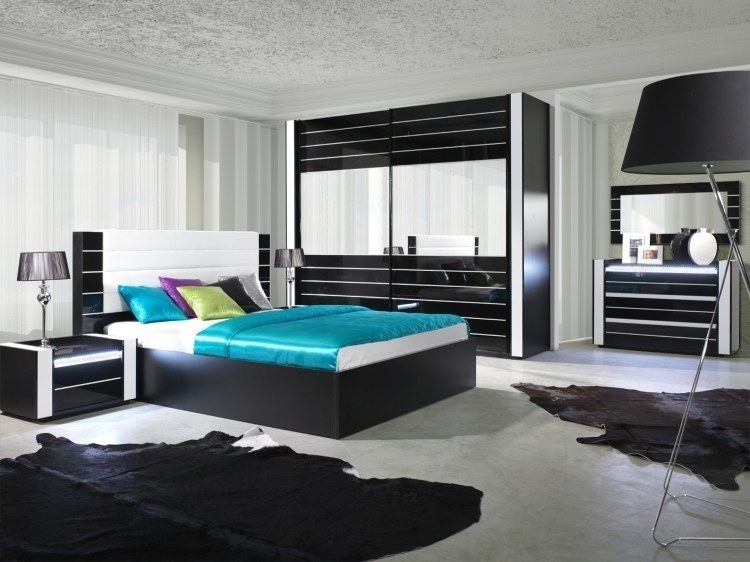 hochglanz wei schlafzimmer komplett linn bett kleiderschrank 250 cm 2 nako ebay. Black Bedroom Furniture Sets. Home Design Ideas