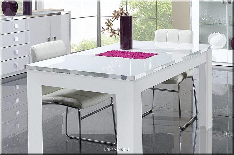 esszimmer set lyon hochglanz weiss neu ebay. Black Bedroom Furniture Sets. Home Design Ideas