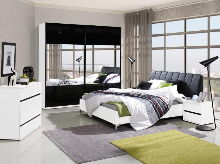 schlafzimmer komplett saragossa hochglanz schwarz-weiss - möbel ... - Schlafzimmer Komplett Schwarz Weiss