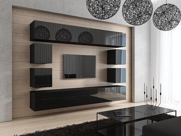 wohnwand medienwand anbauwand project 17 in hochglanz schwarz oder wei ebay. Black Bedroom Furniture Sets. Home Design Ideas