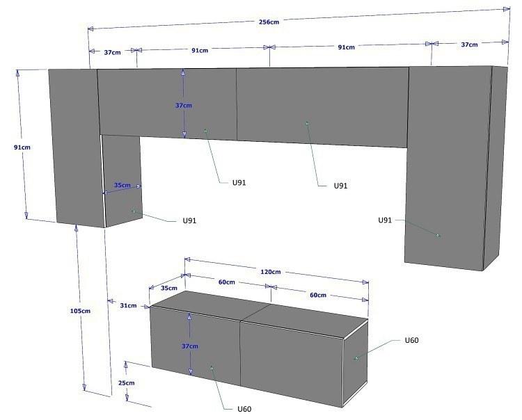 moderne wohnzimmerwand wohnwand project 2 mit led hochglanz wei oder schwarz ebay. Black Bedroom Furniture Sets. Home Design Ideas