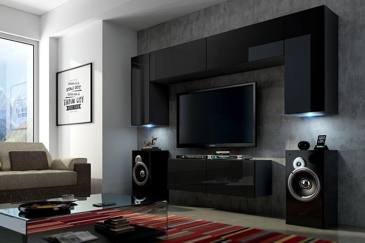 moderne wohnzimmerwand wohnwand project 2 mit led hochglanz wei oder schwarz ebay. Black Bedroom Furniture Sets. Home Design Ideas