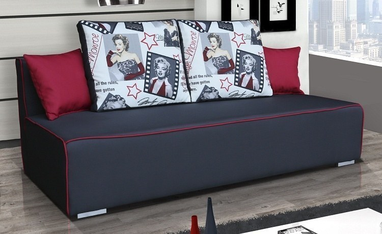 schlafcouch bettsofa iga mit attraktiven kissenmotiven federkern u bettkasten ebay. Black Bedroom Furniture Sets. Home Design Ideas