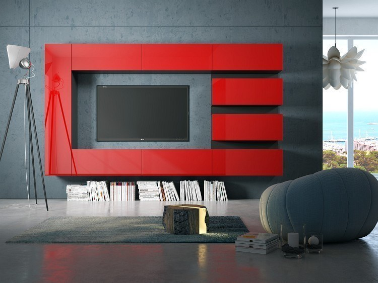 Modulare medienwand wohnwand box plan 5 in hochglanz wei for Wohnwand rot