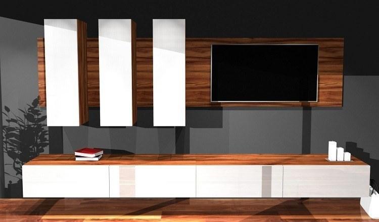 designer wohnwand hochglanz medienwand box plan 1 in wei schwarz oder rot ebay. Black Bedroom Furniture Sets. Home Design Ideas