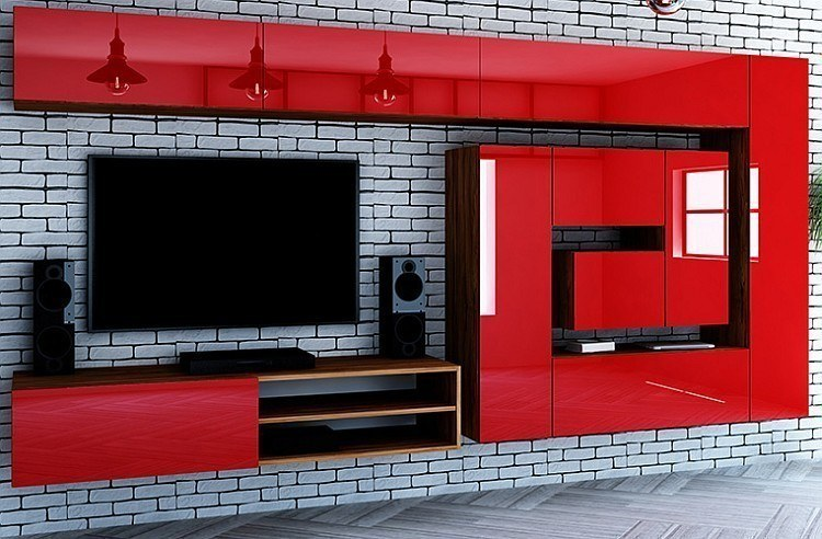 designer hochglanz wohnwand anbauwand box plan 2 in rot schwarz oder wei. Black Bedroom Furniture Sets. Home Design Ideas