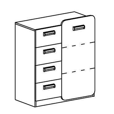 Kommode mit vier Schubladen und einer Tür