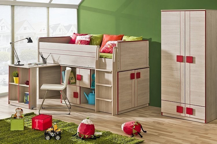 jugendzimmer set max 3 tlg hochbett mit schreibtisch schrank 2t sideboard ebay. Black Bedroom Furniture Sets. Home Design Ideas