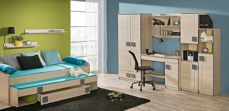max jugendzimmer komplett set mit hochbett mit schreibtisch kleiderschrank und sideboard. Black Bedroom Furniture Sets. Home Design Ideas