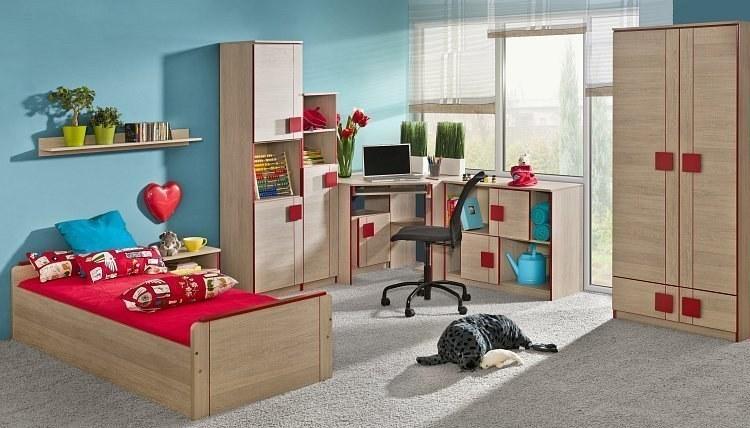 komplett jugendzimmer max 6 teilig bett mit g stebett schrank schreibtisch und zwei. Black Bedroom Furniture Sets. Home Design Ideas