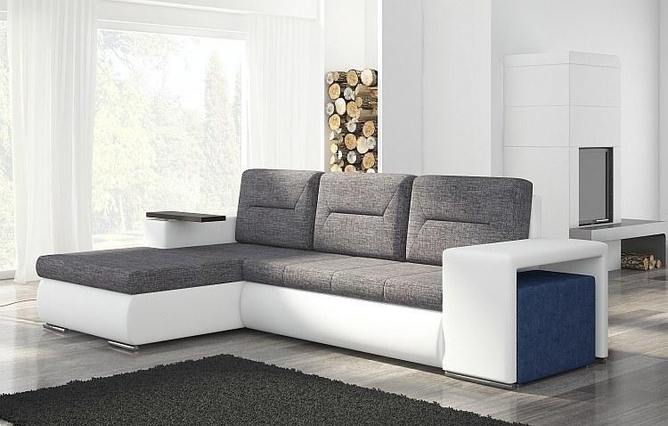 modernes ecksofa mit hocker schlaffunktion bettkasten farbauswahl eckcouch sofa ebay. Black Bedroom Furniture Sets. Home Design Ideas