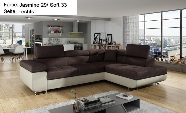 Ecksofa toni mit schlaffunktion bettkasten sofa eckcouch for Wohnlandschaft 100 euro