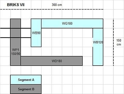 Modulare Wohnwand Briks VII - Skizze