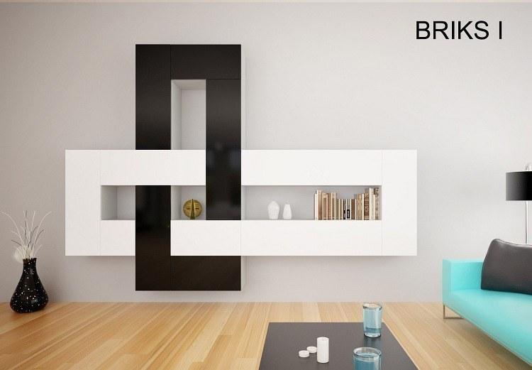 designer hochglanz wohnwand anbauwand briks i mit vielen farben zur auswahl ebay. Black Bedroom Furniture Sets. Home Design Ideas