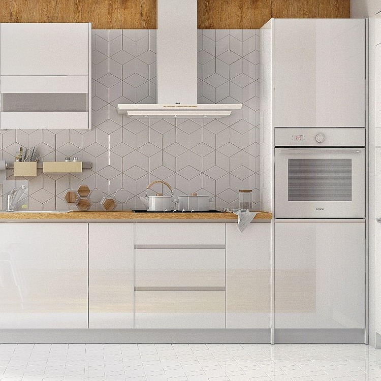 Küchenzeile Campari 240 cm weiß hochglanz