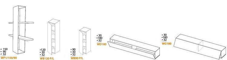 Modulare Wohnwand Briks VII - Elemente