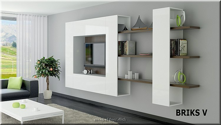 moderne anbauwand briks v hochglanz mit farbauswahl. Black Bedroom Furniture Sets. Home Design Ideas