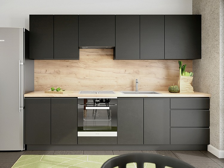 Küchenzeile Campari 280 cm schwarz