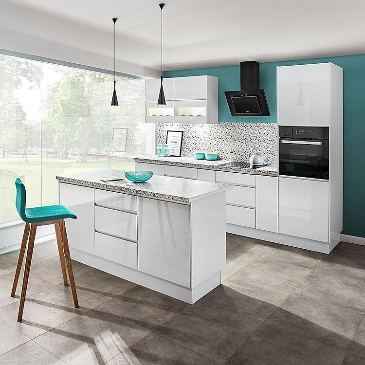 Küchenzeile mit Insel Campari Hochglanz weiß