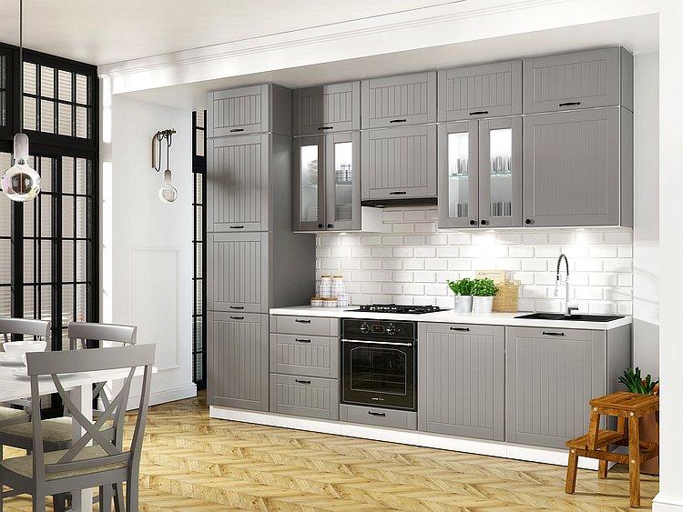 Landhaus Küche LORA Küchenzeile 320 cm im Landhausstil weiß, beige ...