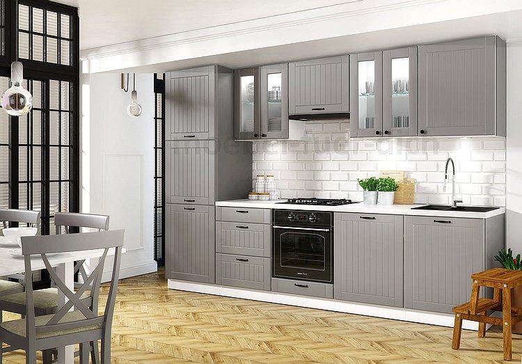 Details zu Landhausküche Lora Küchenzeile 300 cm 9-tlg. Landhausstil weiß,  beige oder grau