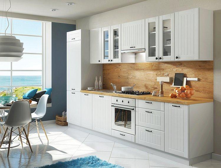 Details zu Landhaus Küche LORA Küchenzeile 320 cm im Landhausstil weiß,  beige oder grau