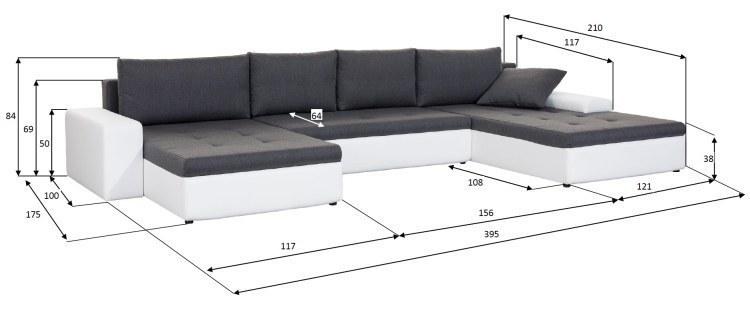 Xxl wohnlandschaft porto in u form mit schlaffunktion for Couch u form 3m