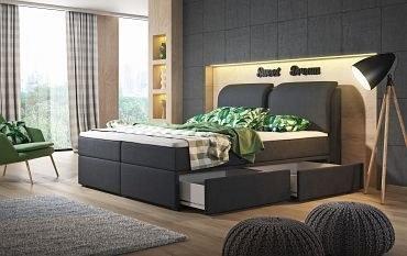 Boxspringbett mit Bettkasten Schubladen rechts