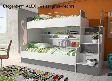 Etagenbett ALEX weiss-grau