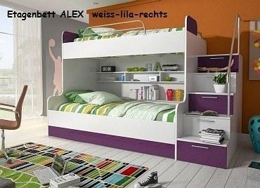 Etagenbett ALEX weiss-lila