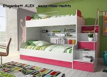 Etagenbett ALEX weiss-rosa
