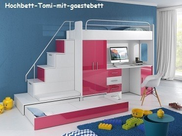 tomi hochbett mit schreibtisch schrank treppe und g stebett in hochglanz wei ebay. Black Bedroom Furniture Sets. Home Design Ideas