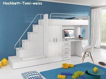 Hochbett  TOMI Hochbett mit Gästebett, Schreibtisch, Schrank und Treppe in ...