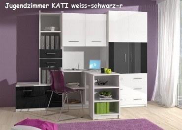 Eckschreibtisch schwarz weiß  Kinderzimmer-Set KATI mit Eckschreibtisch, Schrank - Möbel für ...