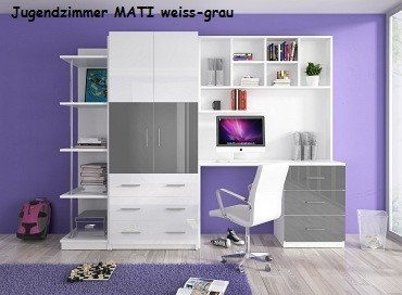 Jugenzimmer MATI weis/grau