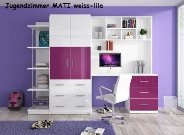 Jugenzimmer MATI weis/lila