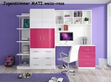 jugendzimmer kinderzimmer mati hochglanz wei grau rosa schwarz violett ebay. Black Bedroom Furniture Sets. Home Design Ideas