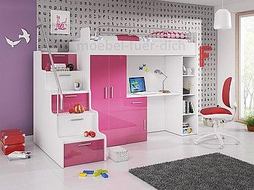 Hochbett ARI pink