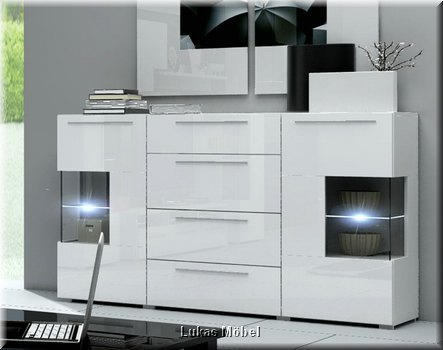 Moderne Wohnwand Schrankwand Hochglanz weiss Roma mit LED 5-teilig ...