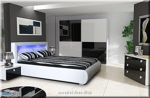 Schlafzimmer Komplett Hochglanz weiss schwarz Schrank, Bett mit LED ...