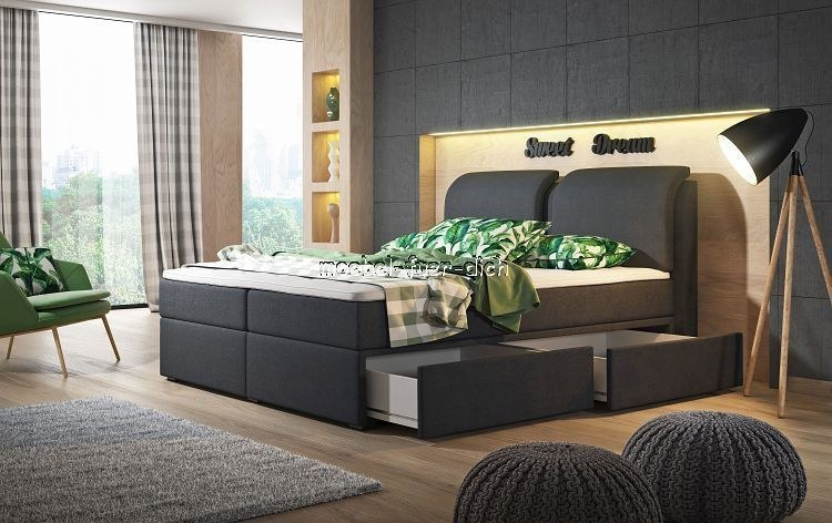 boxspringbett borneo mit zwei bettk sten mit stoffbezug und farbauswahl m bel f r dich online shop. Black Bedroom Furniture Sets. Home Design Ideas