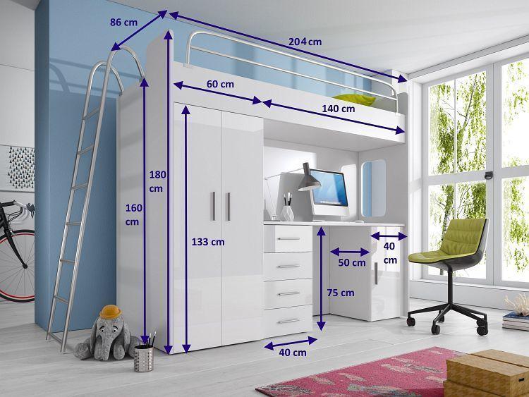 hochbett nicki mit kleiderschrank u schreibtisch m bel. Black Bedroom Furniture Sets. Home Design Ideas
