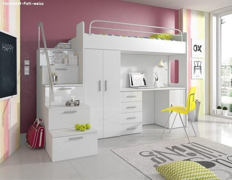 hochbett pati mit schreibtisch schrank und treppe m bel f r dich online shop. Black Bedroom Furniture Sets. Home Design Ideas
