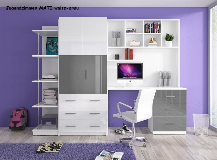 Jugendzimmer Kinderzimmer Mati - Hochglanz Weiß /Grau /Rosa