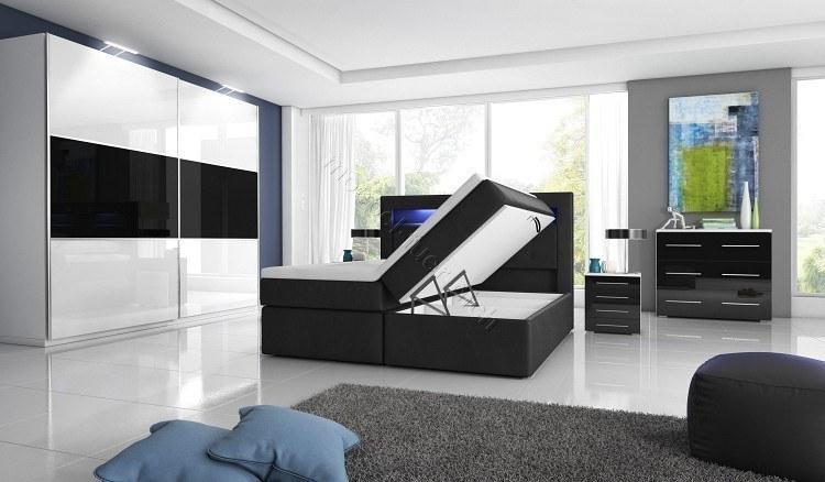 Schlafzimmer mit Boxspringbett weiss schwarz