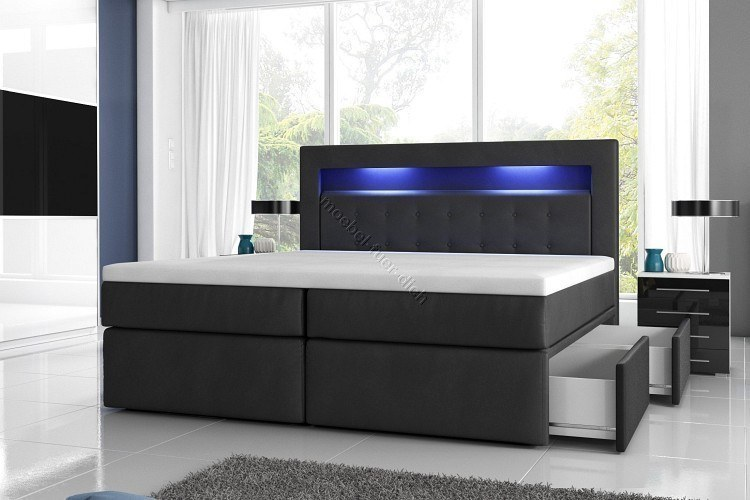 boxspringbett milano2 mit zwei bettkasten und led. Black Bedroom Furniture Sets. Home Design Ideas