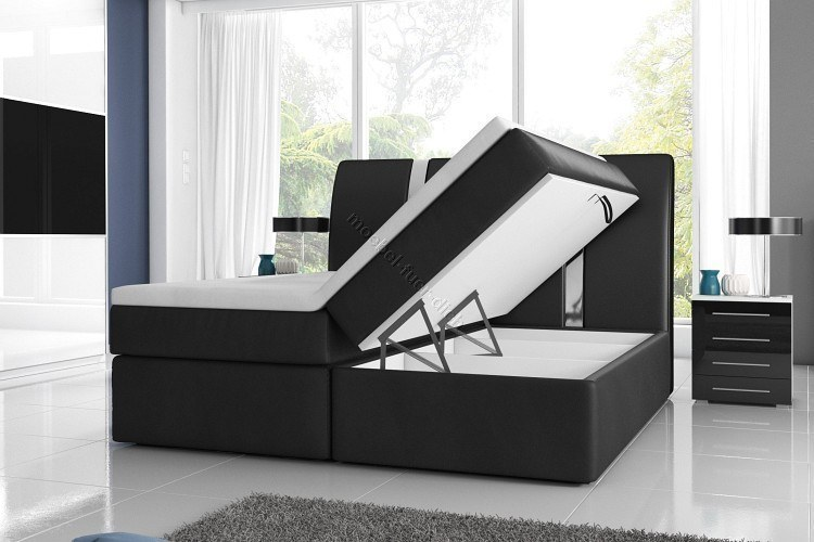 boxspringbett rivabox 2 mit zwei bettk sten breite 140 160 180 wei o schwarz ebay. Black Bedroom Furniture Sets. Home Design Ideas