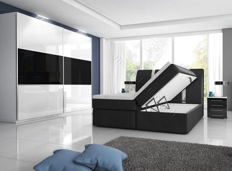 hochglanz schlafzimmer mit boxspringbett rivabox2 wei o schwarz 2 bettk sten ebay. Black Bedroom Furniture Sets. Home Design Ideas