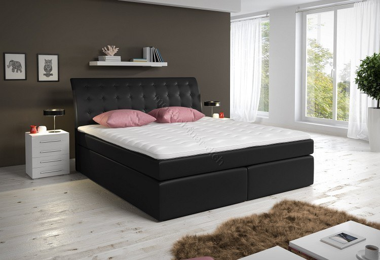 boxspringbett kunstlederbett roxy mit zwei bettkasten wei oder schwarz ebay. Black Bedroom Furniture Sets. Home Design Ideas